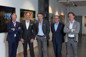 De gauche à droite : William Lerinckx (for Probatimmo BV), Sidney D. Bens (CFO), Stéphan Sonneville SA (CEO), Sven Lemmes (for Weatherlight SA), Laurent Collier (for Strat-Up SRL)